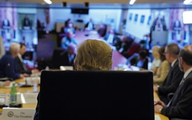 President Donald Trump attends a teleconference with governors at the Federal Emergency Management Agency headquarters on March 19, 2020 in Washington, DC. (Evan Vucci-Pool/Getty Images/AFP)