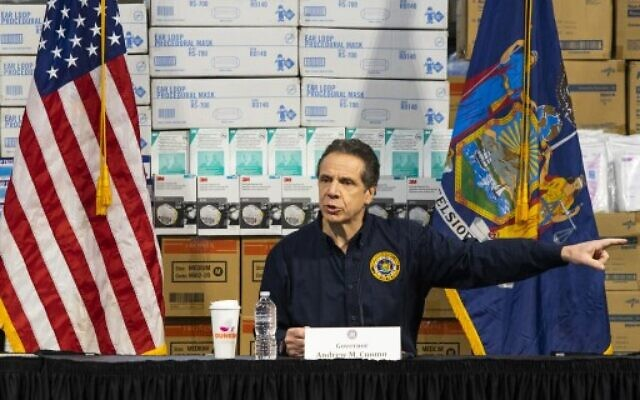 New York Governor Andrew Cuomo speaks to the media at the Javits Convention Center which is being turned into a hospital to help fight coronavirus cases, on March 24, 2020 in New York City. (Eduardo Munoz Alvarez/Getty Images/AFP)