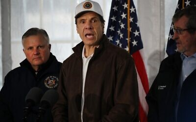 New York Governor Andrew Cuomo speaks to the media and tours a newly opened drive through testing center for the coronavirus on March 13, 2020, in New Rochelle, New York. (Spencer Platt/Getty Images/AFP)