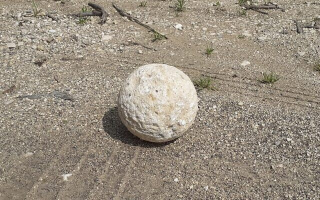 The ballista stone which was recently returned to the City of David. (Uzi Rotstein, Israel Antiquities Authority)