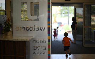 The main entrance of the Staenberg-Loup Jewish Community Center in Denver, July 27, 2018. (Hyoung Chang/The Denver Post via Getty Images/ via JTA)