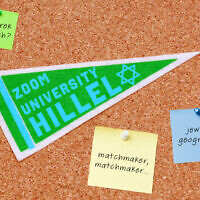 Illustrative: Zoom University Hillel. (Collage by Emily Burack/ Alma via JTA)