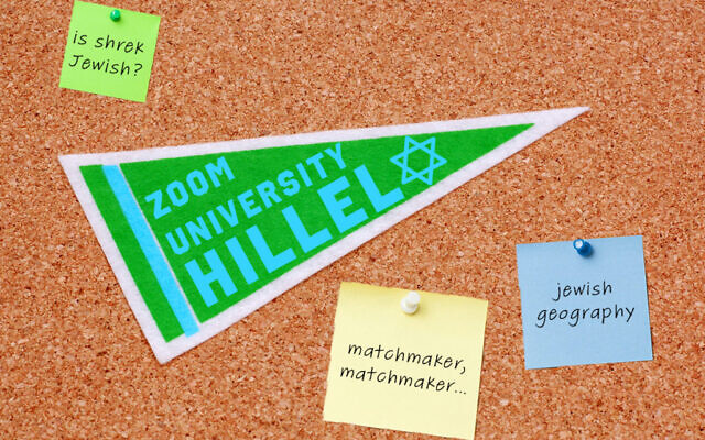 Illustrative: Zoom University Hillel. (Collage by Emily Burack/ Alma via JTA)