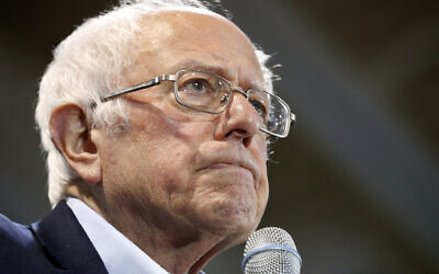 Democratic US presidential candidate Senator Bernie Sanders addresses a campaign rally February 29, 2020, in Virginia Beach, Virginia. (AP Photo/Steve Helber)
