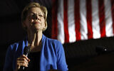 Democratic US presidential candidate Senator Elizabeth Warren speaks during a primary election night rally, March 3, 2020, at Eastern Market in Detroit. (AP Photo/Patrick Semansky)