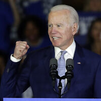 Democratic presidential candidate former Vice President Joe Biden speaks at a primary election night campaign rally in Los Angeles, March 3, 2020. (Chris Carlson/AP)