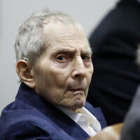 Real estate heir Robert Durst sits during his murder trial at the Airport Branch Courthouse in Los Angeles on March 4, 2020. (Etienne Laurent/EPA via AP, Pool)
