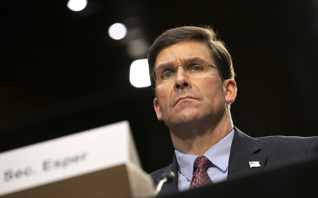 US Defense Secretary Mark Esper testifies to the Senate Armed Services Committee about the budget, March 4, 2020, on Capitol Hill in Washington. (AP Photo/Jacquelyn Martin)