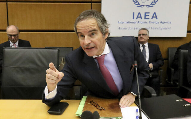 Director general of International Atomic Energy Agency, Rafael Grossi, speaks before the start of the IAEA board of governors meeting at the International Center in Vienna, Austria, March 9, 2020. (AP Photo/Ronald Zak)