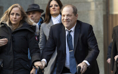 In this Feb. 21, 2020, file photo, Harvey Weinstein leaves the courthouse during jury deliberations in his rape trial in New York.  (AP Photo/Mary Altaffer, File)