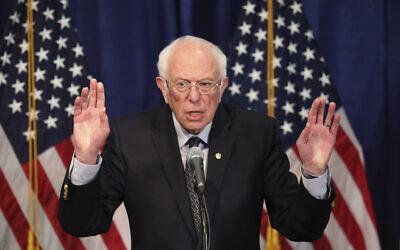 Democratic presidential candidate Bernie Sanders speaks to reporters on March 11, 2020, in Burlington, Vermont. (AP Photo/Charles Krupa)