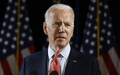 Democratic presidential candidate former US Vice President Joe Biden speaks about the coronavirus, March 12, 2020, in Wilmington, Delaware. (AP/Matt Rourke)