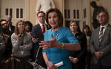Speaker of the House Nancy Pelosi, a Democrat of California, makes a statement ahead of a planned late-night vote on the coronavirus aid package deal at the Capitol in Washington, March 13, 2020. (AP/J. Scott Applewhite)