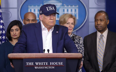 US President Donald Trump speaks during a briefing on coronavirus in the Brady press briefing room at the White House, March 14, 2020, in Washington. (AP Photo/Alex Brandon)