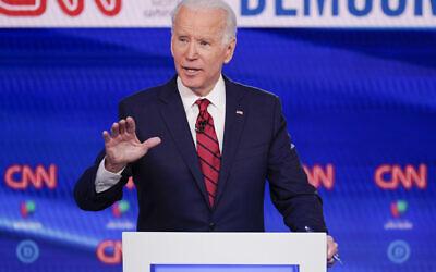 Former US Vice President Joe Biden participates in a Democratic presidential primary debate at CNN Studios in Washington, March 15, 2020. (AP/Evan Vucci)