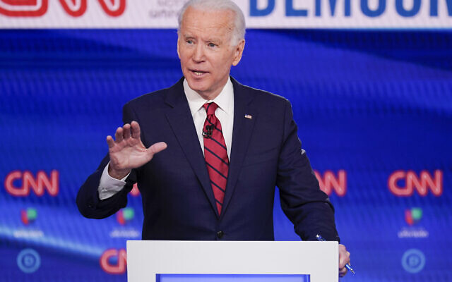 Former US Vice President Joe Biden participates in a Democratic presidential primary debate at CNN Studios in Washington, March 15, 2020. (AP/Evan Vucci)