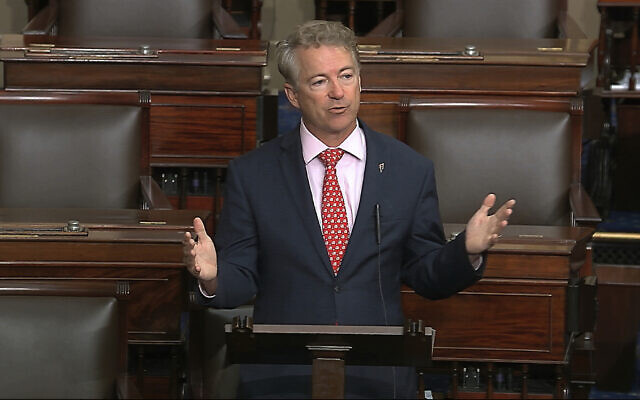 In this image made from video, US Senator Rand Paul speaks on the Senate floor at the US Capitol in Washington, March 18, 2020. (Senate Television via AP)