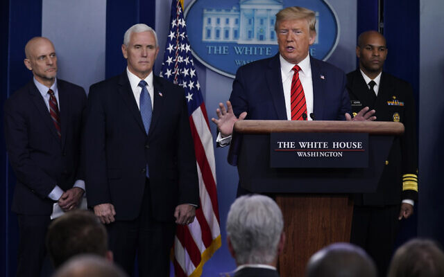 US President Donald Trump speaks during press briefing with the coronavirus task force, at the White House, March 19, 2020, in Washington. (AP Photo/Evan Vucci)