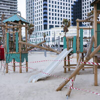 This March 19, 2020 photo shows playground at Tel Aviv's beachfront wrapped in tape to prevent public access.(AP Photo/Oded Balilty)