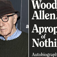 """This combination photo shows director Woody Allen at a special screening of """"Wonder Wheel"""" in New York on November 14, 2017, left, and a cover image for """"Apropos of Nothing,"""" Allen's autobiography. (AP Photo, left, Arcade Publishing via AP)"""