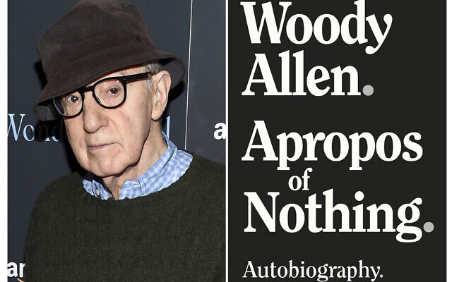 "This combination photo shows director Woody Allen at a special screening of ""Wonder Wheel"" in New York on November 14, 2017, left, and a cover image for ""Apropos of Nothing,"" Allen's autobiography. (AP Photo, left, Arcade Publishing via AP)"