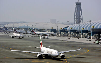 Illustrative: An Emirates airline passenger jet taxis on the tarmac at Dubai International airport in Dubai, United Arab Emirates, April 20, 2010. (Kamran Jebreili/AP)