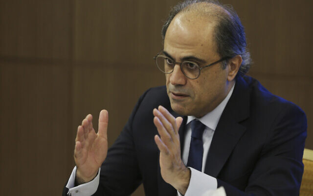 Jihad Azour, the  International Monetary Fund's Mideast and Central Asia department director, gives a press conference in Dubai, United Arab Emirates, November 13, 2018. (Kamran Jebreili/AP)