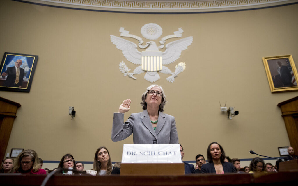 CDC Principal Deputy Secretary Dr. Anne Schuchat is sworn in as she appears before a House Oversight subcommittee hearing on lung disease and e-cigarettes on Capitol Hill in Washington, Tuesday, September 24, 2019. (AP Photo/Andrew Harnik)