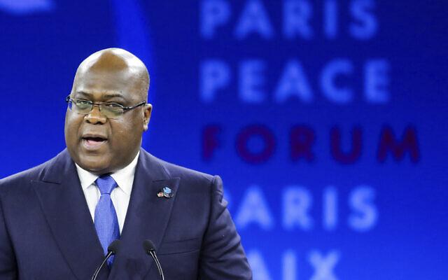 Republic of Congo's President Felix Tshisekedi delivers his speech at the Paris Peace Forum Tuesday, Nov. 12, 2019 in Paris. (Ludovic Marin/Pool via AP)
