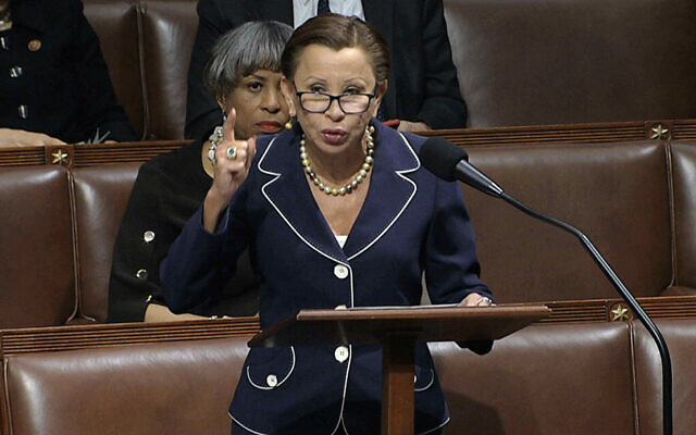 Democratic Rep. Nydia Velazquez of New York speaks as the House of Representatives debates the articles of impeachment against President Donald Trump at the Capitol in Washington, December 18, 2019. (House Television via AP)