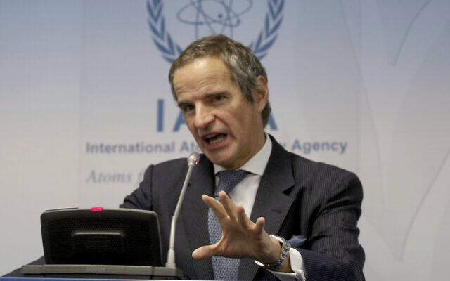 Rafael Grossi, director general of International Atomic Energy Agency, at the International Center in Vienna, Austria, February 10, 2020. (AP Photo/Ronald Zak)