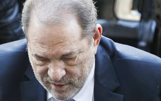 Harvey Weinstein arrives at a Manhattan courthouse for his rape trial, February 24, 2020, in New York. (AP Photo/John Minchillo)