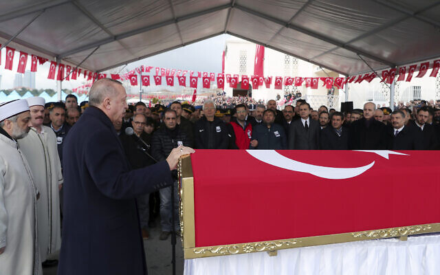 Turkey's President Recep Tayyip Erdogan speaks during funeral prayers for Emre Baysal, one the 36 Turkish soldiers killed two days earlier in a Syrian army attack in the Idlib area of Syria, seen here in Istanbul,  February 29, 2020. (Presidential Press Service via AP, Pool)