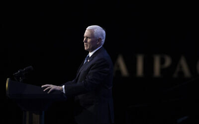 Vice President Mike Pence speaks at the  American Israel Public Affairs Committee (AIPAC) 2020 Conference, March 2, 2020, in Washington. (AP Photo/Alex Brandon)