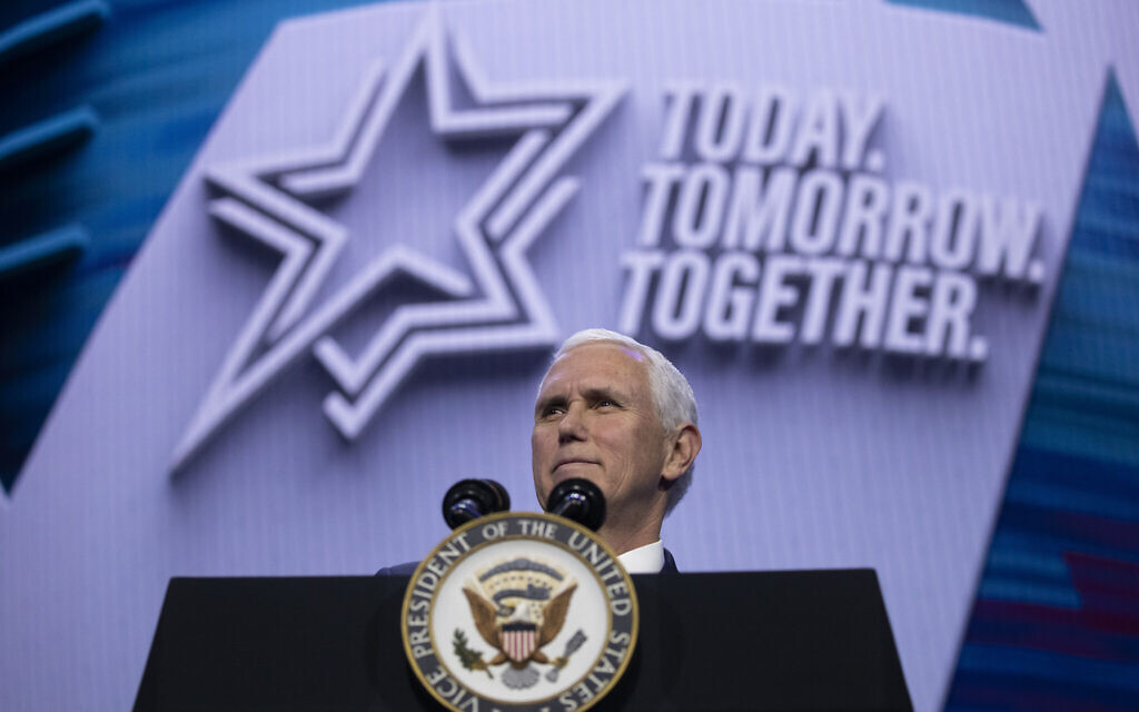Vice President Mike Pence speaks at the American Israel Public Affairs Committee (AIPAC) 2020 Conference, in Washington, March 2, 2020. (Alex Brandon/AP)