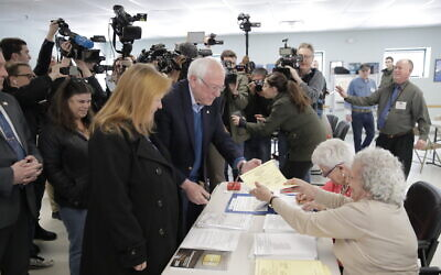Democratic presidential candidate Bernie Sander arrives to vote in the Vermont Primary near his home in Burlington, Vermont, March 3, 2020. (AP Photo/Charles Krupa)