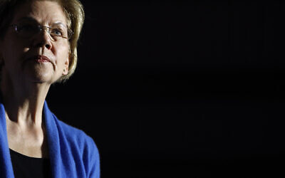 Democratic US presidential candidate Senator Elizabeth Warren speaks during a primary election night rally, March 3, 2020, at Eastern Market in Detroit. (AP Photo/Patrick Semansky)