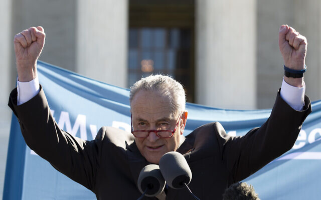 Senate Minority Leader Chuck Schumer, D-N.Y. speaks during abortion rights rally outside of the US Supreme Court in Washington, Wednesday, March 4, 2020. The Supreme Court is taking up the first major abortion case of the Trump era Wednesday, an election-year look at a Louisiana dispute that could reveal how willing the more conservative court is to roll back abortion rights. (AP Photo/Jose Luis Magana)