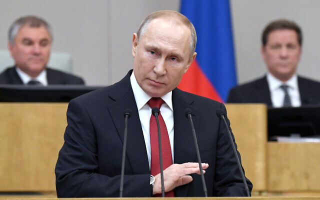 Russian President Vladimir Putin speaks during a session prior to voting for constitutional amendments at the State Duma, the Lower House of the Russian Parliament in Moscow, Russia, March 10, 2020 (Alexei Nikolsky, Sputnik, Kremlin Pool Photo via AP)