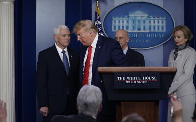 US President Donald Trump leaves after speaking at a press briefing with the coronavirus task force, at the White House, Thursday, March 19, 2020, in Washington. (AP/Evan Vucci)