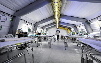 A view of the ICU of the emergency field hospital that is being set up outside Cremona hospital, northern Italy, March 20, 2020. (Claudio Furlan/LaPresse via AP)