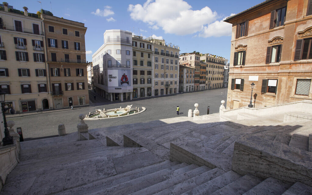 A view of the empty Spanish Steps, in Rome, Tuesday, March 24, 2020. (AP Photo/Andrew Medichini)