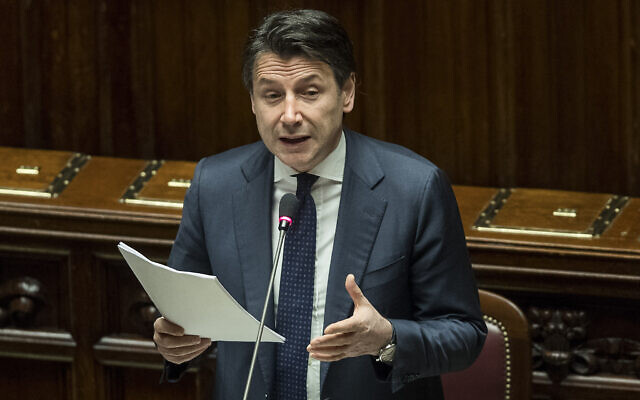Prime Minister Giuseppe Conte updates the Parliament on the coronavirus emergency in Rome, March 25, 2020. (Roberto Monaldo/LaPresse via AP)
