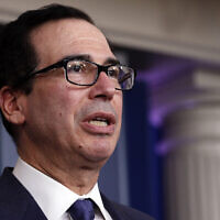 US Treasury Secretary Steven Mnuchin speaks about the coronavirus stimulus package in the James Brady Briefing Room, Wednesday, March 25, 2020, in Washington. (AP Photo/Alex Brandon)