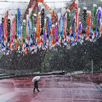 A man walks past hanging Koinobori (carp-shaped windsocks) during a snowfall in Tokyo, Sunday, March 29, 2020. (AP/Gregorio Borgia)