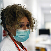 A medical staffer at the Santo Spirito hospital in Rome, March 30, 2020. (Cecilia Fabiano/LaPresse via AP)