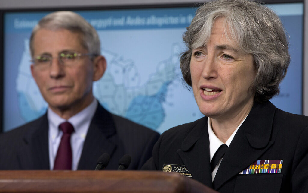 Dr. Anne Schuchat, principal deputy director of the Center for Disease Control, right, speaks about the Zika virus, accompanied by Dr. Anthony Fauci, director of NIH/NIAID, Monday, April 11, 2016, during a news briefing at the White House in Washington. (AP Photo/Jacquelyn Martin)
