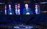 Then-vice president Joe Biden addresses the AIPAC 2016 Policy Conference in Washington, DC, March 20, 2016. . (AP/Cliff Owen)