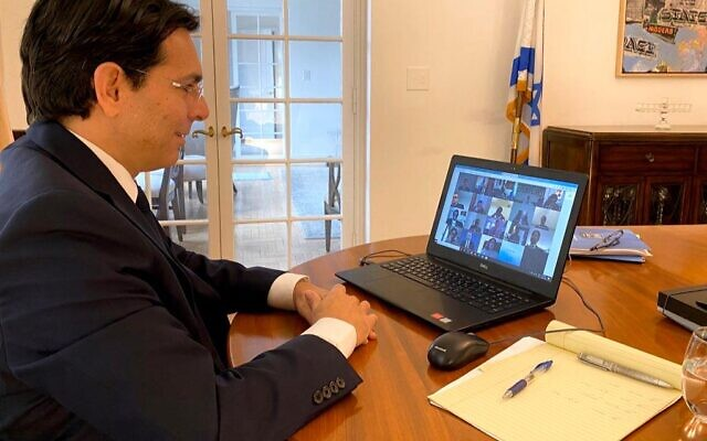 Israeli Ambassador to the UN Danny Danon participating, via videoconference, in a UN Security Council discussion about the Israeli-Palestinian conflict, March 30, 2020 (courtesy Israel's Permanent Mission to the UN)