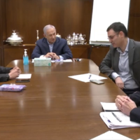 From left to right: Finance Ministry Director-General Shai Babad, Prime Minister Benjamin Netanyahu, Health Ministry Director-General Moshe Bar Siman-Tov and National Security Adviser Meir Ben-Shabbat at the Prime Minister's Residence in Jerusalem on March 22, 2020. (Screen capture: Twitter)